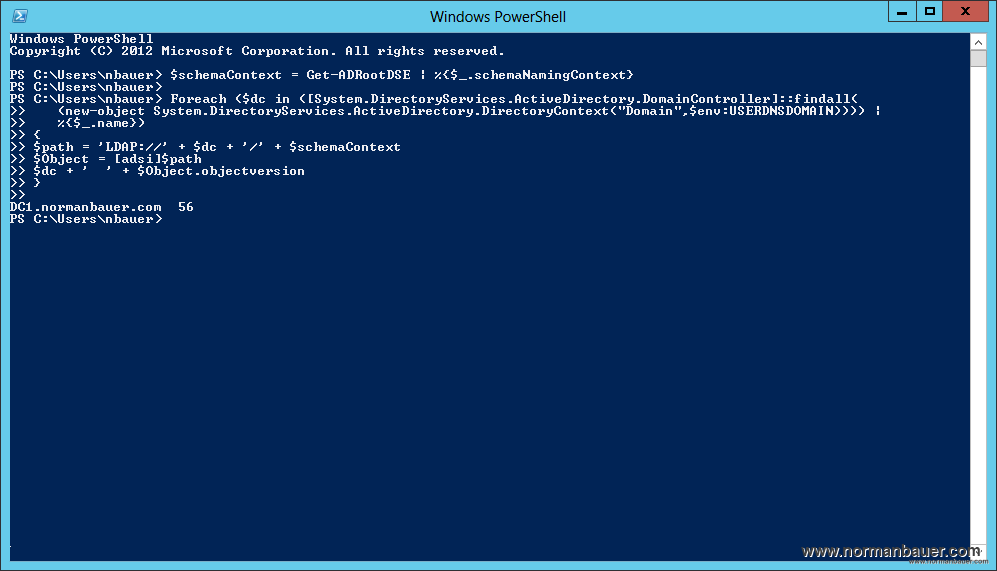 Check objectVersion on all Domain Controllers after schema update with PowerShell